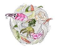 Japanse keuken - udon noedels met zeevruchten stock illustratie