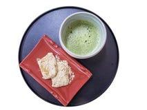 Japanse keuken, Warabimochi-dessert en groene thee Stock Foto