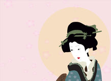 Japanse kimonodame royalty-vrije illustratie