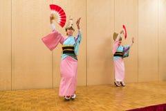 Japanse lokale uitvoerders die traditionele lokale Japanner uitvoeren Stock Foto