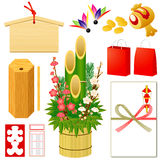 Japanse Nieuwe pictogrammen Yearâs Royalty-vrije Stock Afbeeldingen