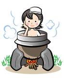 Japanse oude die stijlbadkuip - eronder wordt verwarmd van stock illustratie