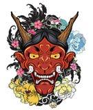 Japanse oude draaktatoegering voor wapen hand getrokken Oni-masker met kersenbloesem en pioenbloem Japans demonmasker op golf en  stock illustratie
