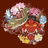 Japanse oude draaktatoegering voor wapen hand getrokken Oni-masker met kersenbloesem en pioenbloem Japans demonmasker op golf en  vector illustratie