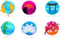 Japanse pictogrammen/emblemen vector illustratie