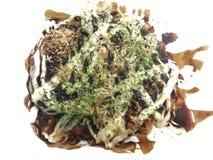 Japanse pizza Okonomiyaki is Japanse pannekoeken stock afbeelding