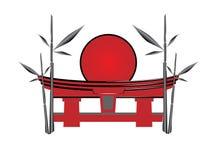 Japanse poort de zon en een bamboe Royalty-vrije Stock Fotografie