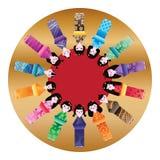 Japanse poppen lange cirkel 14 malplaatje stock illustratie