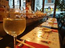 Japanse restaurant van Frankfurt, Duitsland _, sushi stock foto's