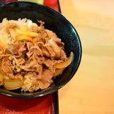 Japanse rijst met geroosterd vlees Royalty-vrije Stock Foto