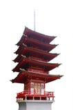 Japanse rode geïsoleerdeg toren Royalty-vrije Stock Foto's