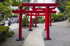 Japanse rode houten toriipoorten stock foto's