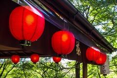 Japanse rode lantaarns Stock Afbeelding