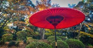 Japanse rode paraplu bij het stadspark stock afbeeldingen