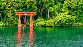 Japanse Rode Poort, Torii, in Meer, Hakone Stock Afbeeldingen