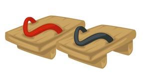 Japanse schoeisel houten wipschakelaars of geta geïsoleerd voorwerp vector illustratie