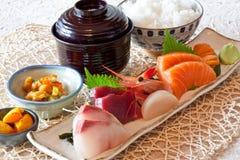 Japanse schotels - sushi & rijst dinning reeks Stock Afbeeldingen