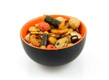 Japanse snacks in kom royalty-vrije stock afbeelding