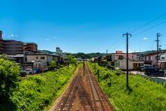 Japanse spoorweg vanaf bovenkant stock afbeeldingen