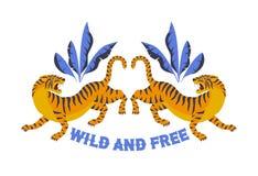 Japanse stijltijger voor t-shirt en ander gebruik Wild en vrij In vectorillustratie Stock Foto