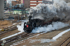 Japanse stoomlocomotief in de winter Royalty-vrije Stock Foto