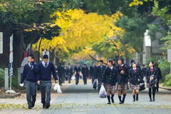 Japanse studenten bij Ueno-Park Royalty-vrije Stock Foto