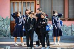 Japanse Studenten in Kyoto Stock Afbeelding