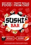 Japanse sushi en broodjesbar, keuken van Japan royalty-vrije illustratie