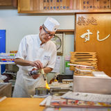 Japanse sushichef-kok Stock Foto's