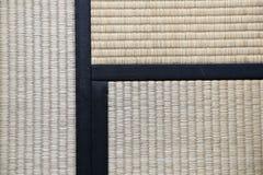 Japanse Tatami-Dekenachtergrond met drie Tatamis het Toetreden Royalty-vrije Stock Foto