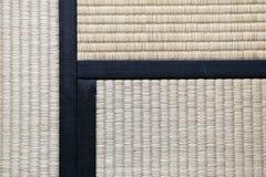 Japanse Tatami-Dekenachtergrond met drie Tatamis het Toetreden Royalty-vrije Stock Afbeeldingen