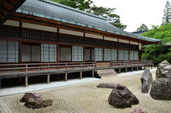 Japanse tempel met rotstuin Royalty-vrije Stock Afbeeldingen