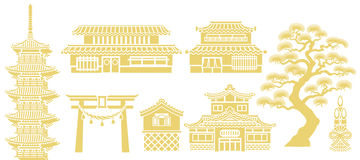 Japanse Traditionele architectuur Stock Afbeelding