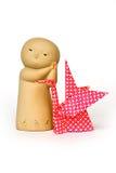 Japanse traditionele geïsoleerdn beeldje en origami Stock Foto