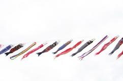 Japanse traditionele kleurrijke karper-vormige wimpels Stock Fotografie