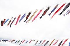 Japanse traditionele kleurrijke karper-vormige wimpels Stock Foto's