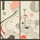 Japanse traditionele reeks met twee vectorkaarten ontwerp met wolken en waterlelies stock illustratie
