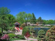 Japanse tuin in Bloomington met bomen Stock Afbeeldingen