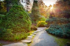 Japanse tuin in de herfst Stock Afbeelding