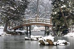 Japanse Tuin in de Winter Royalty-vrije Stock Afbeelding