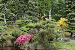 Japanse tuin in de zomer met steenpagode Stock Foto's