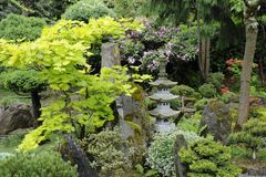 Japanse tuin in de zomer met steenpagode Stock Foto