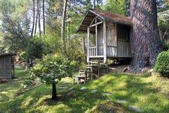 Japanse tuin met een bamboehut Royalty-vrije Stock Afbeelding