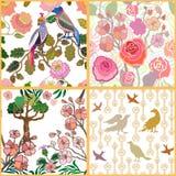 Japanse Tuin Vogels en bloemen Stock Afbeeldingen