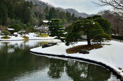 Japanse tuin in winer, Kyoto Japan Royalty-vrije Stock Fotografie