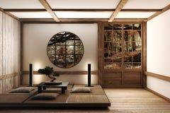 Japanse vertoningszaal binnenlandse, houten bevloering op lichte Witte achtergrond het 3d teruggeven royalty-vrije illustratie