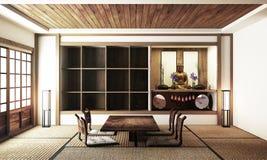 Japanse vertoningszaal binnenlandse, houten bevloering op lichte Witte achtergrond het 3d teruggeven vector illustratie