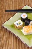 Japanse voedsel, sushi en maki Stock Foto