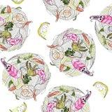 Japanse voedsel udon noedel met zeevruchten naadloos patroon vector illustratie