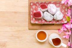 Japanse Voedselachtergrond/Japans Voedsel/Japans Voedsel op Houten Achtergrond Stock Foto